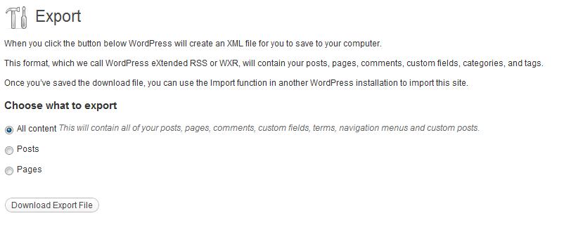 Export your WordPress Blog