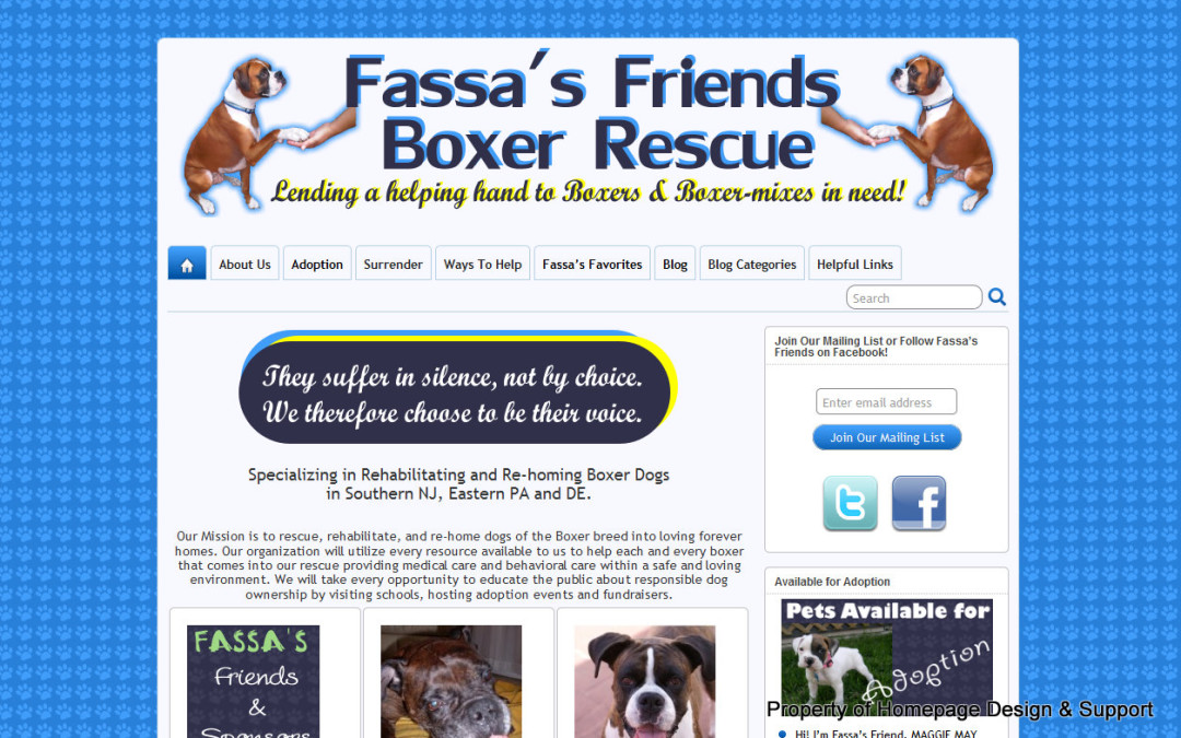 WordPress Customization for Fassa's Friends Boxer Rescue