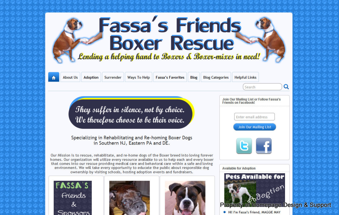 WordPress Customization for Fassa's Friends Boxer Rescue