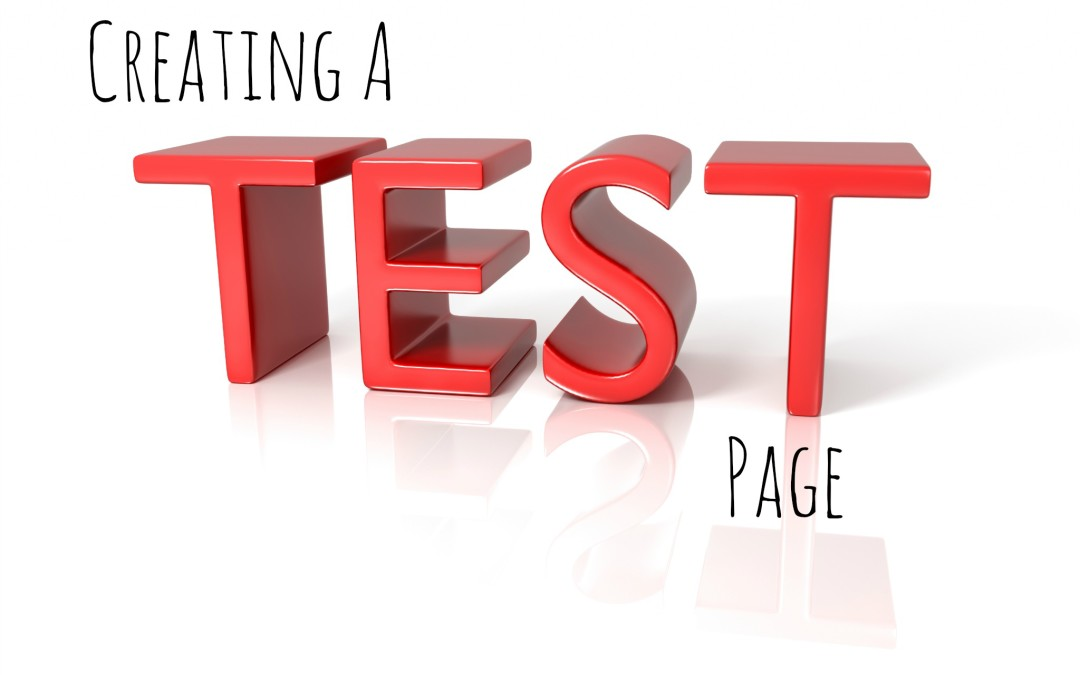 WordPress: Creating a Test Page